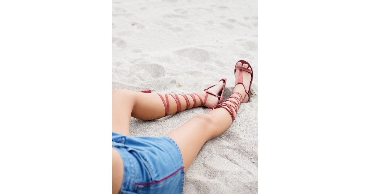 5854f43cc1b Free People Dahlia Lace Up Sandal in Red - Lyst