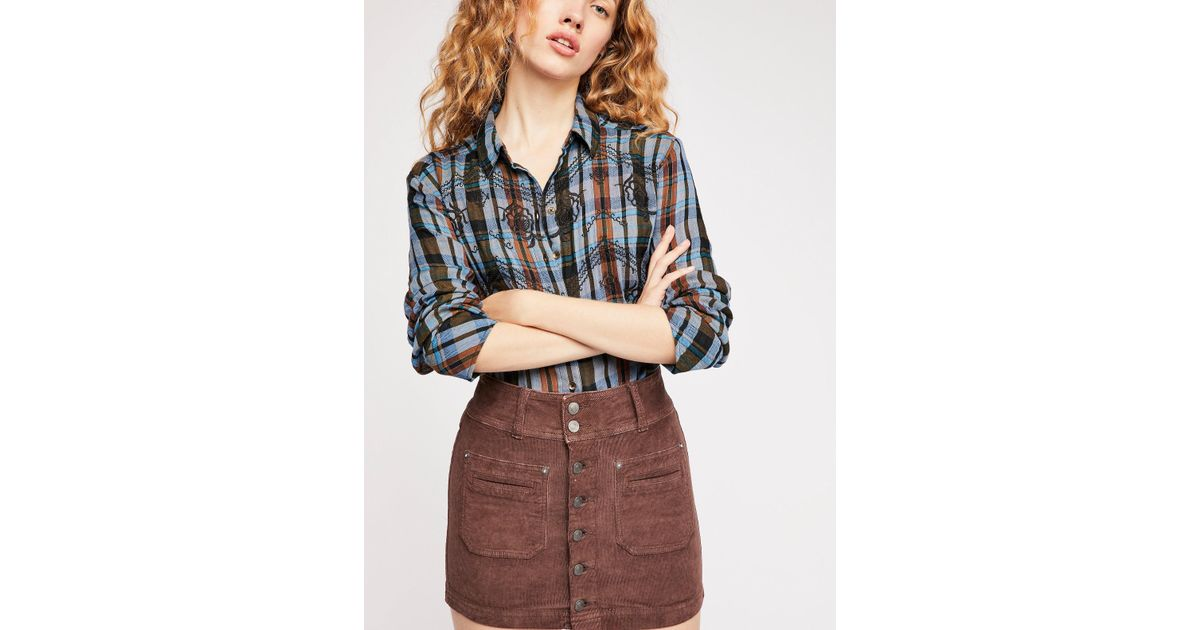 76821eb56 Free People Joanie Solid Cord Skirt in Brown - Lyst