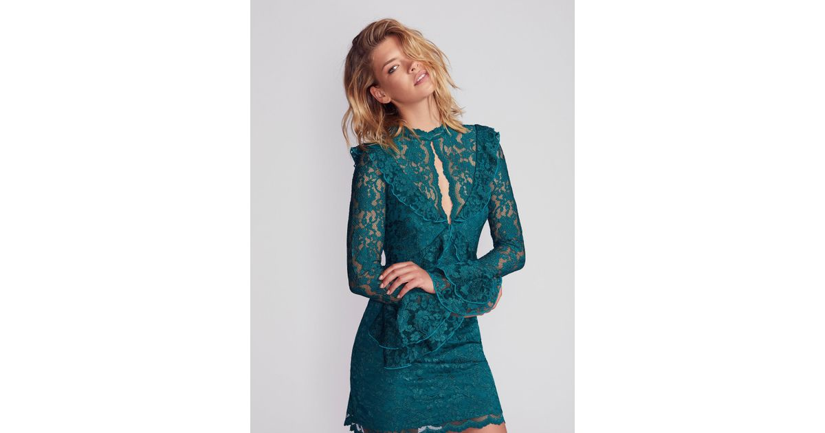 Free People Green Devin Lace Bodycon Dress