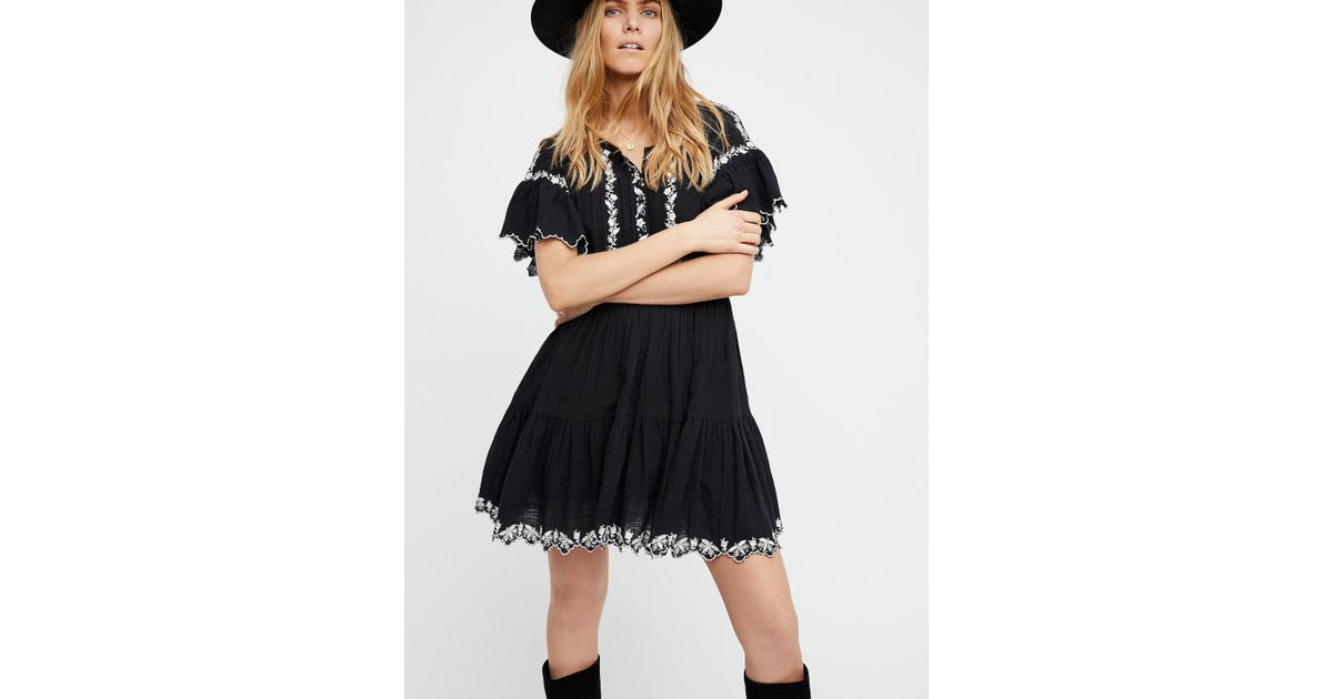 ... Free people sweet tennessee embroidered mini dress red combo women,Free  People de corps is