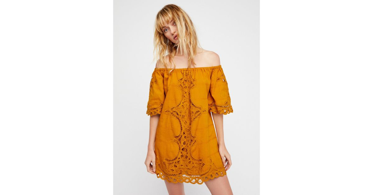 556e7b2524eb47 Lyst - Free People Battenburg Off-the-shoulder Mini Dress in Orange