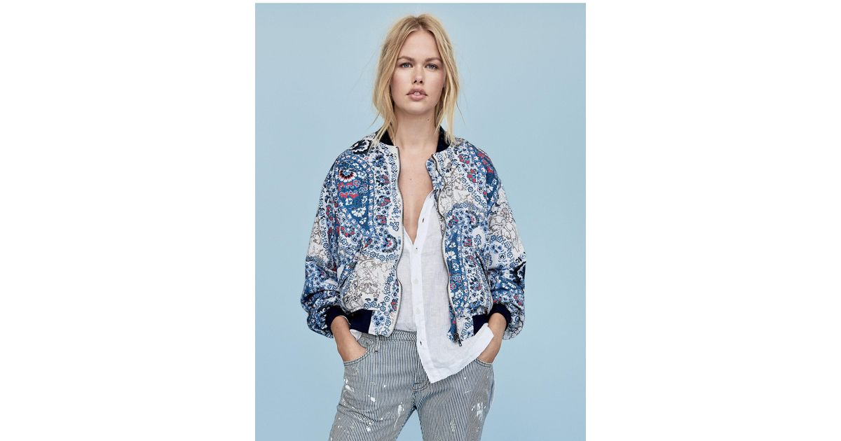a59e6ca6d Free People Blue Printed Bomber Jacket