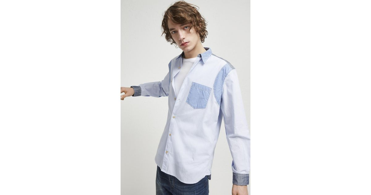 667fd58c659 Lyst - French Connection Outline Patchwork Shirt in Blue for Men