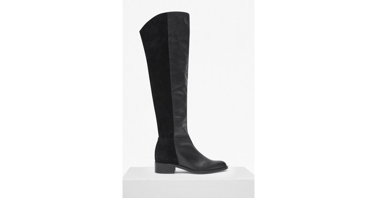 41bd87d2c338 Lyst - French Connection Tilly Knee High Flat Heel Leather Boots in Black