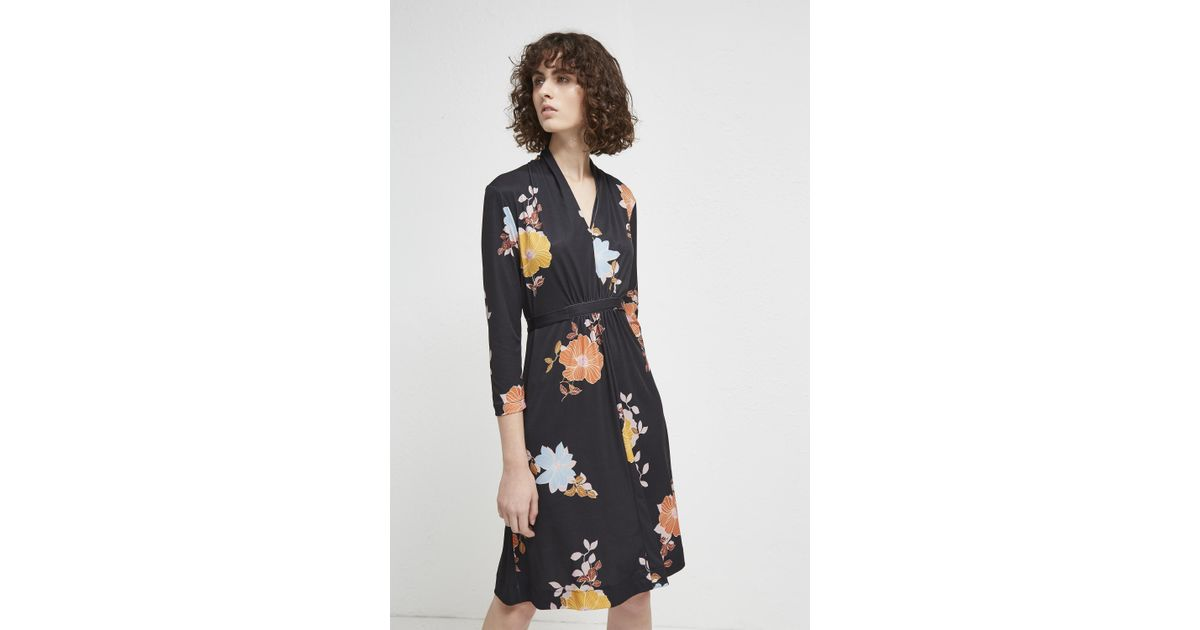29e534c1b9e French Connection Shikoku Spaced Floral Dress in Black - Lyst