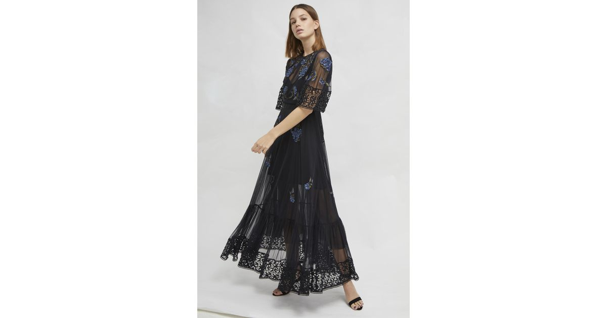 22c02ef89d5 French Connection Ambre Floral Embroidered Mesh Dress in Black - Save 24% -  Lyst