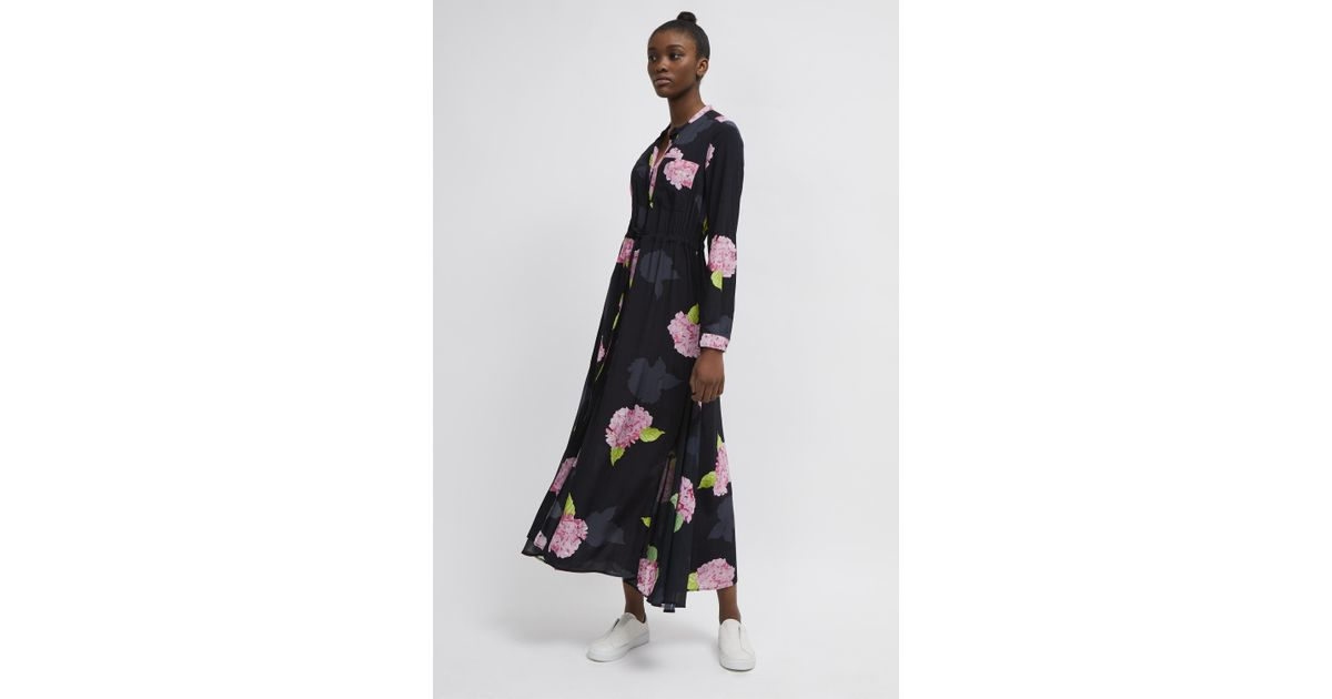 ab6dc3f66f43a2 French Connection Eleonore Drape Floral Midi Shirt Dress in Black - Lyst