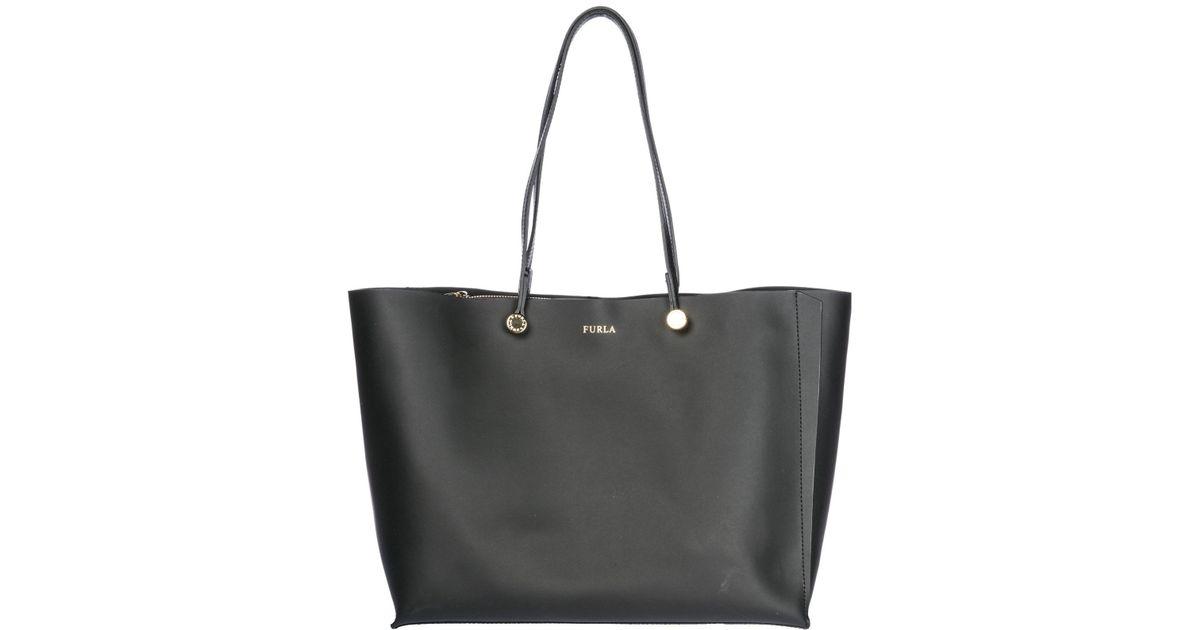 5404f9bbcff425 Furla Leather Handbag Shopping Bag Purse Eden in Black - Lyst