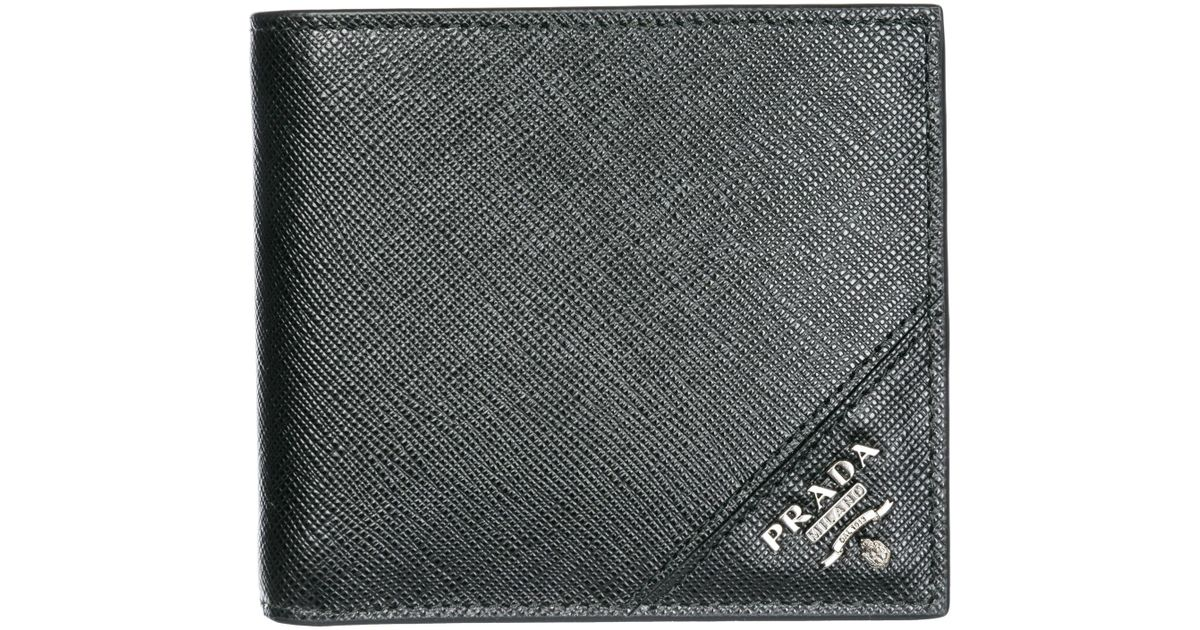 e8ba4a8b837e Lyst - Prada Wallet Genuine Leather Coin Case Holder Purse Card Bifold in  Black for Men