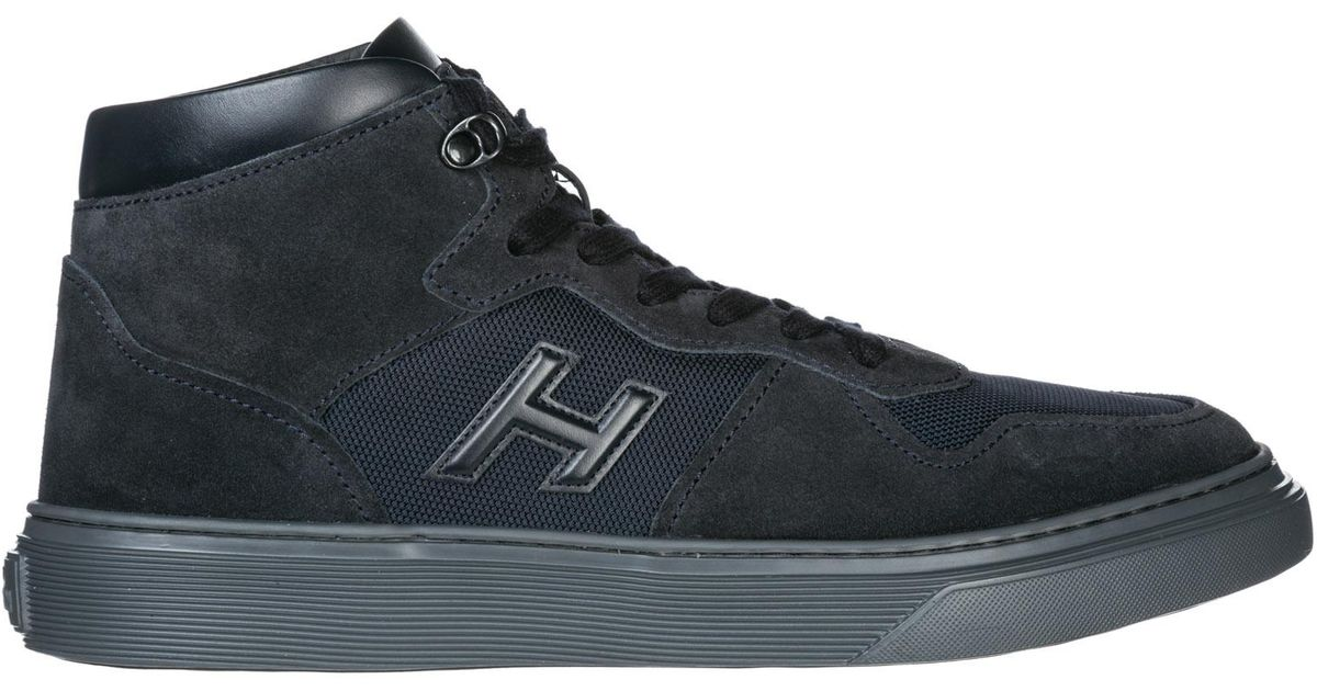 Hogan Blue Men's Shoes High Top Suede Trainers Sneakers H365 for men