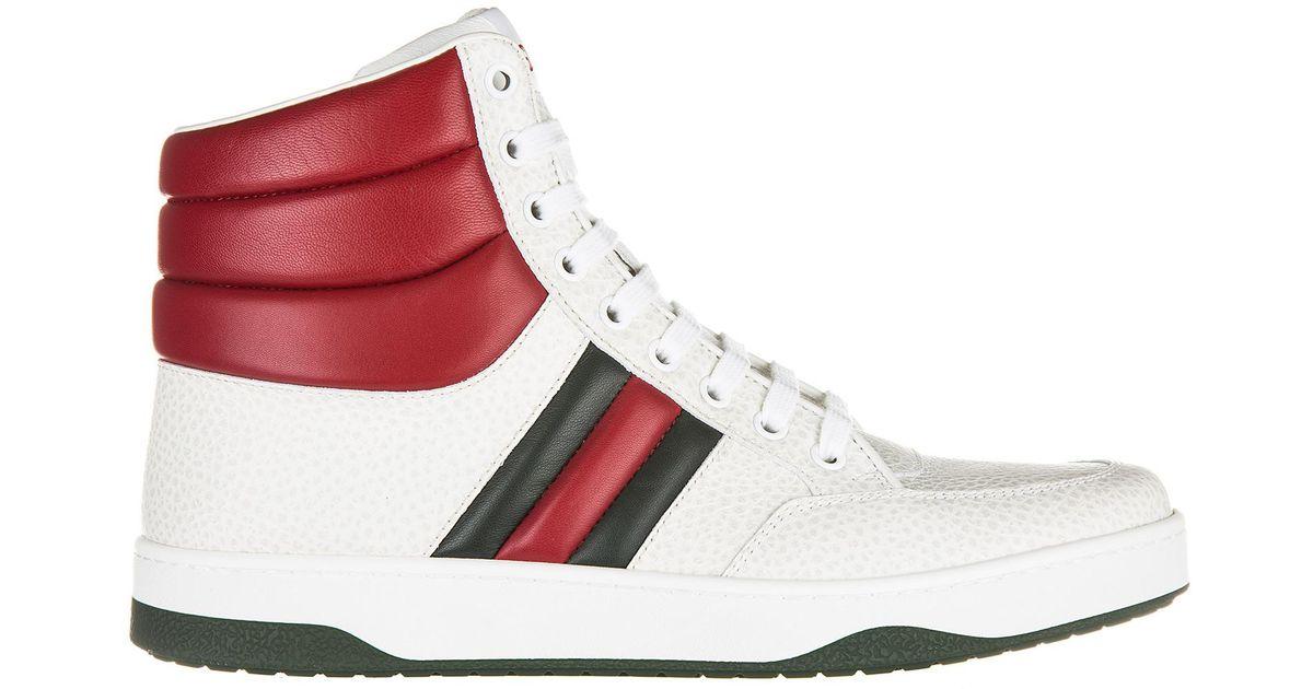 Gucci White Shoes High Top Leather Trainers Sneakers Praga Karibu for men