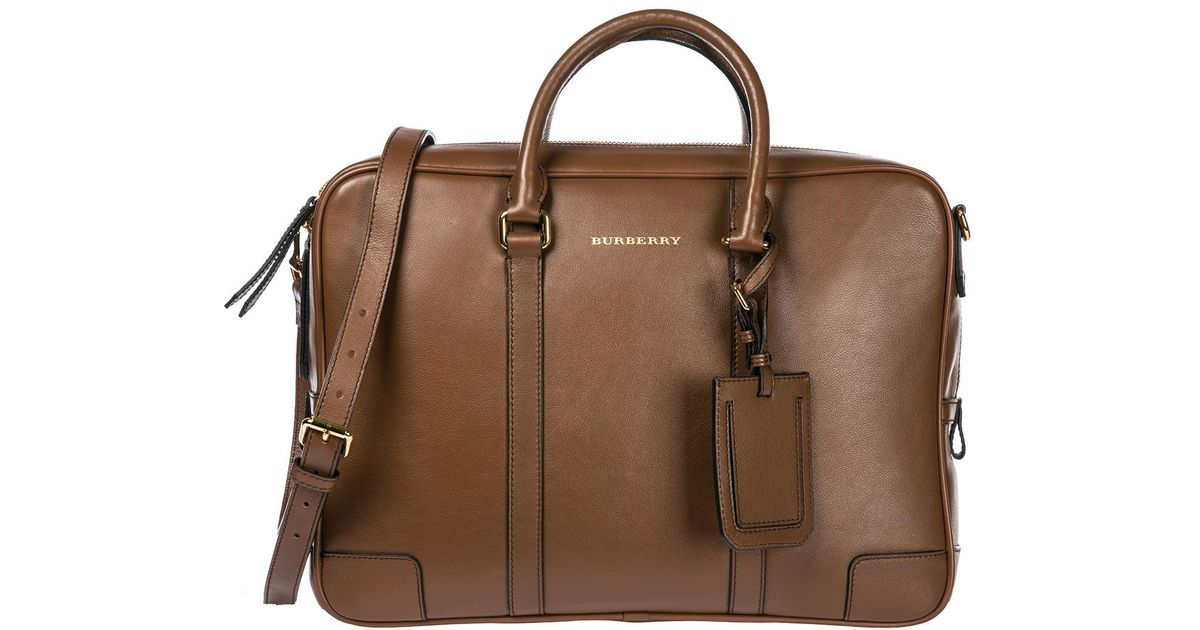 Burberry Brown Briefcase Attaché Case Laptop Pc Bag Leather for men