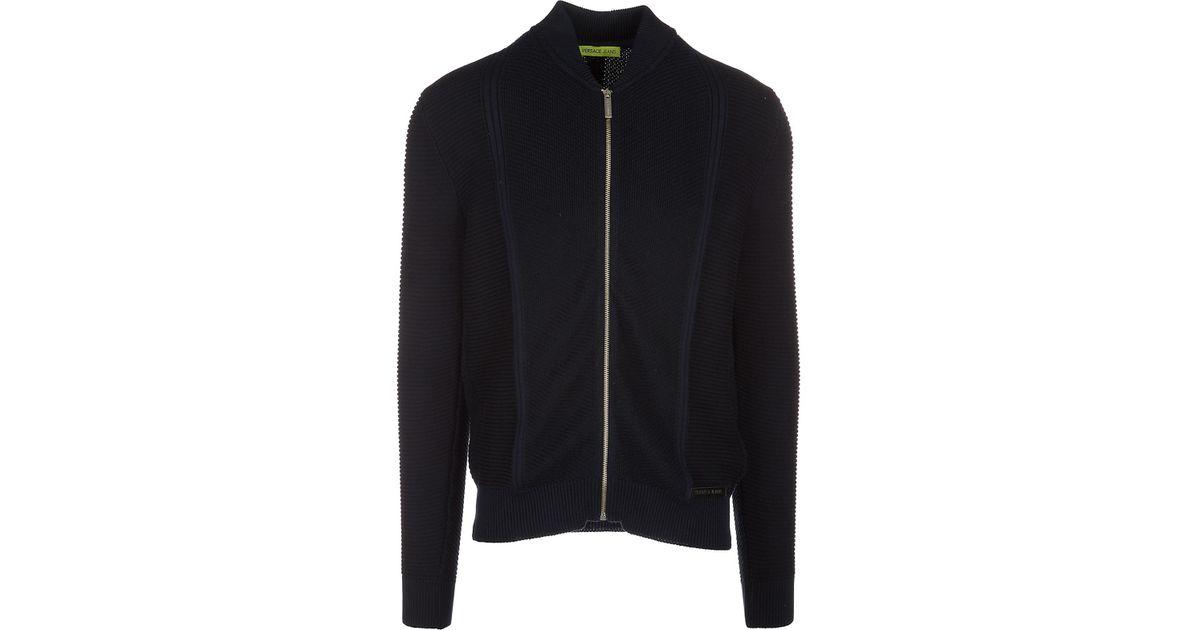 metà fuori 28138 b1da1 Versace Jeans - Blue Jumper Sweater Pullover Con Zip for Men - Lyst