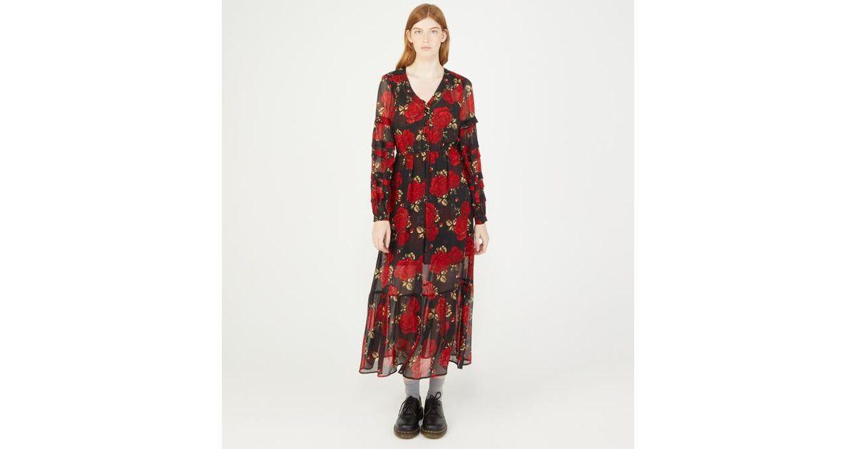 Lyst - Robe Sleeping Roses The Kooples en coloris Rouge 507db4f195f