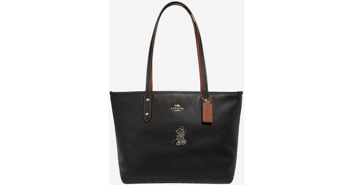 Minnie Black En Cuir Sac Coach Mouse Coloris Cabas Disney XPuwOiTkZ