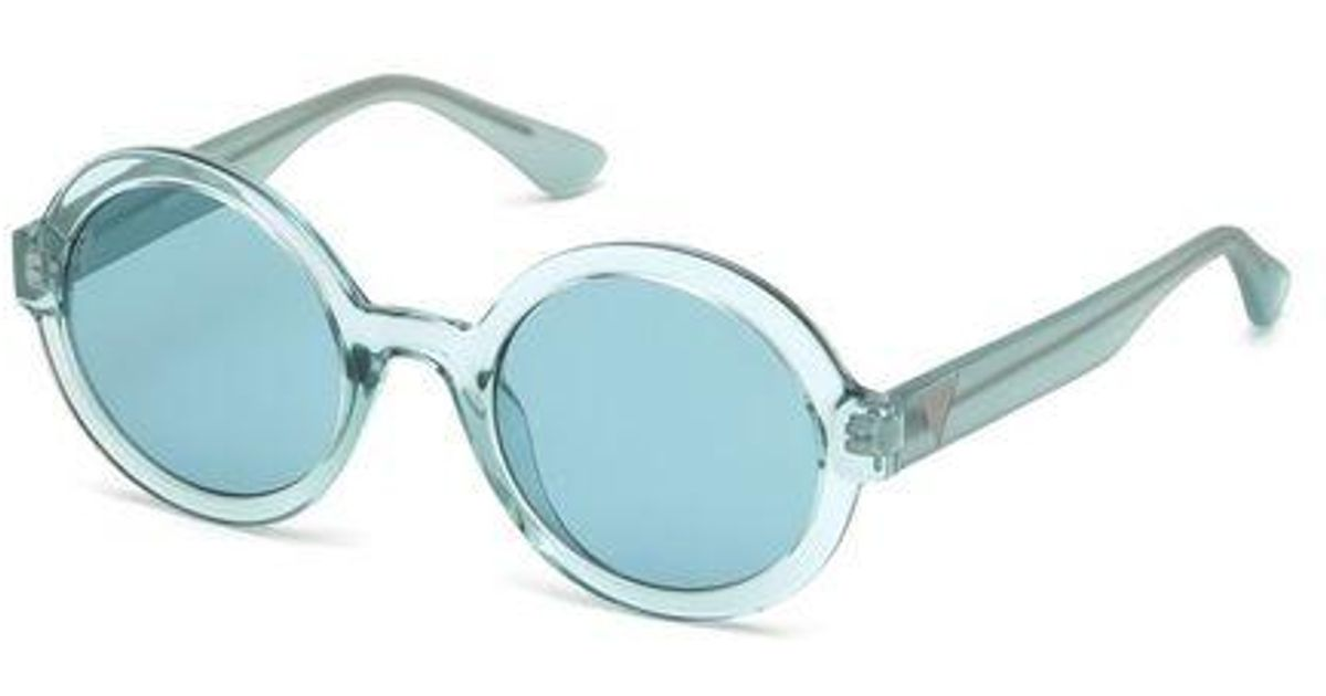 Guess Coupe ronde /à lunettes de soleil cateye en miroir de la Havane brun fonc/é GU7529 52G 54