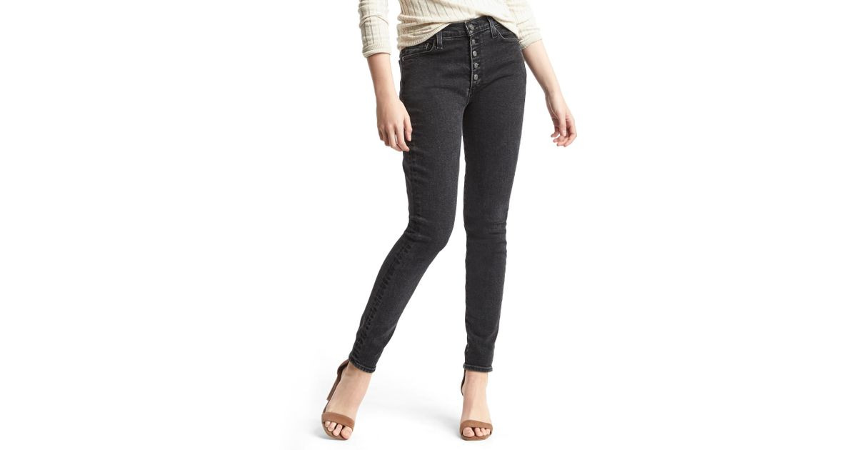 Gap authentic 1969 true skinny high rise jeans in black lyst for Perry motors bishop ca