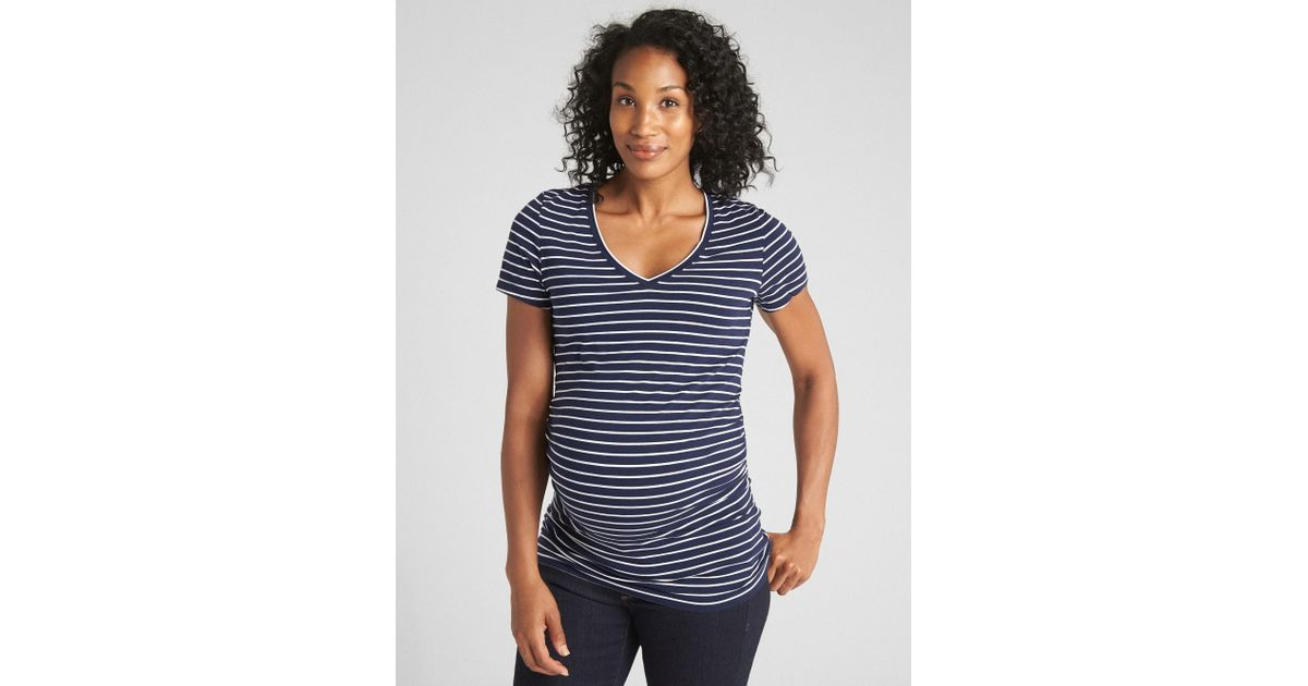 a1b4fbdf8 Lyst - Gap Maternity Pure Body Stripe V-neck T-shirt in Blue
