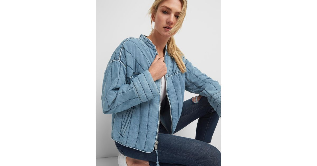 Lyst Gap Quilted Jacket In Tm In Blue
