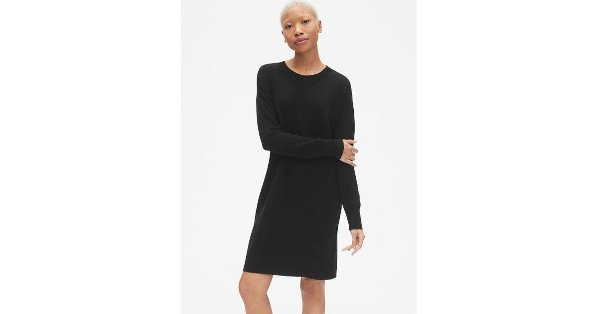 091b496a7b Lyst - Gap Cozy Crewneck Sweater Dress in Black