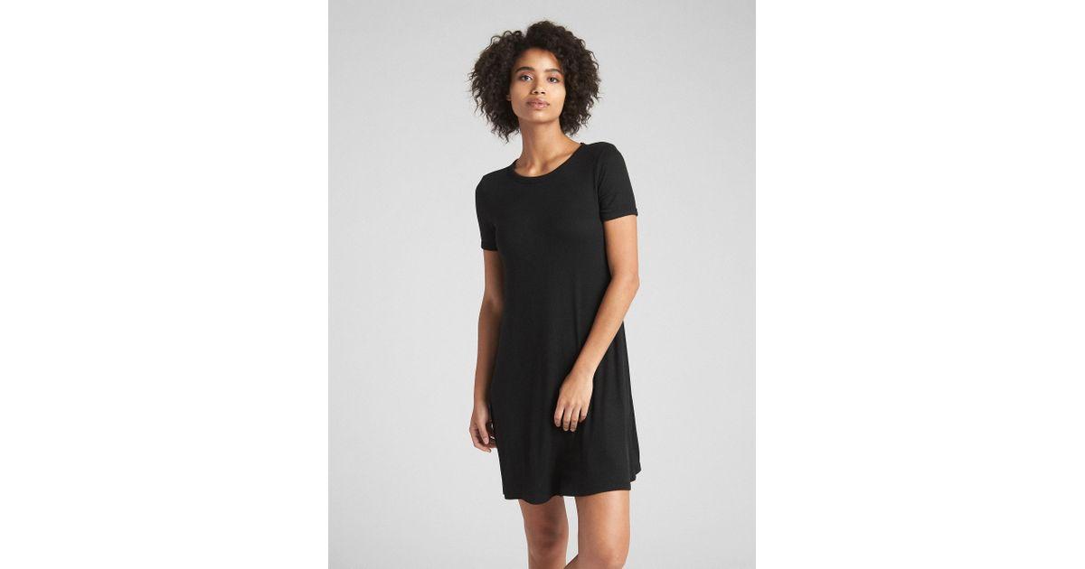 eefa2837ef691 Lyst - Gap Short Sleeve Ribbed T-shirt Dress in Black