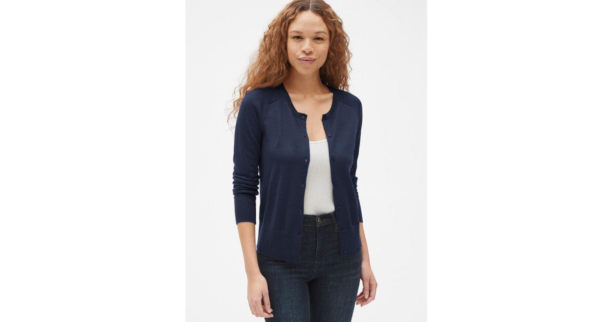 332ae15a71 Lyst - Gap Crewneck Cardigan Sweater In Merino Wool in Blue