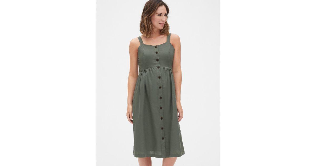 Gap Linen Maternity Apron Midi Dress In Green Lyst