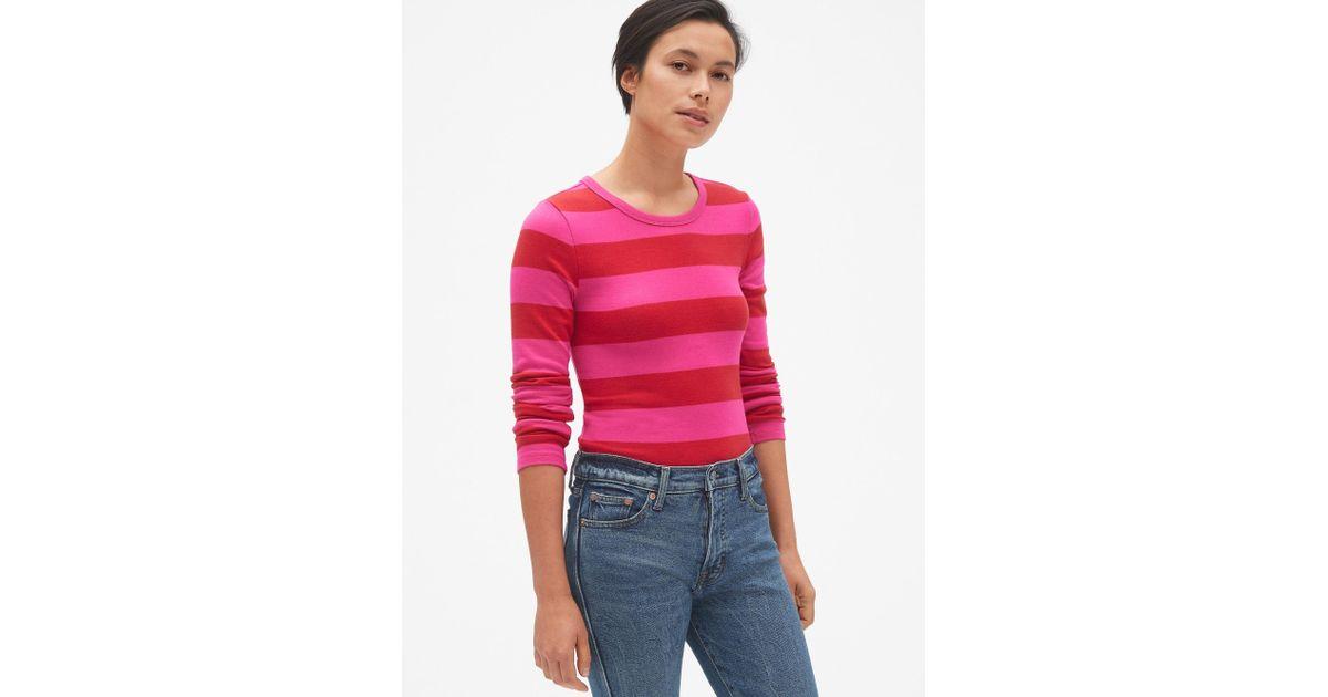 27febf04 Lyst - Gap Modern Stripe Long Sleeve Crewneck T-shirt in Red