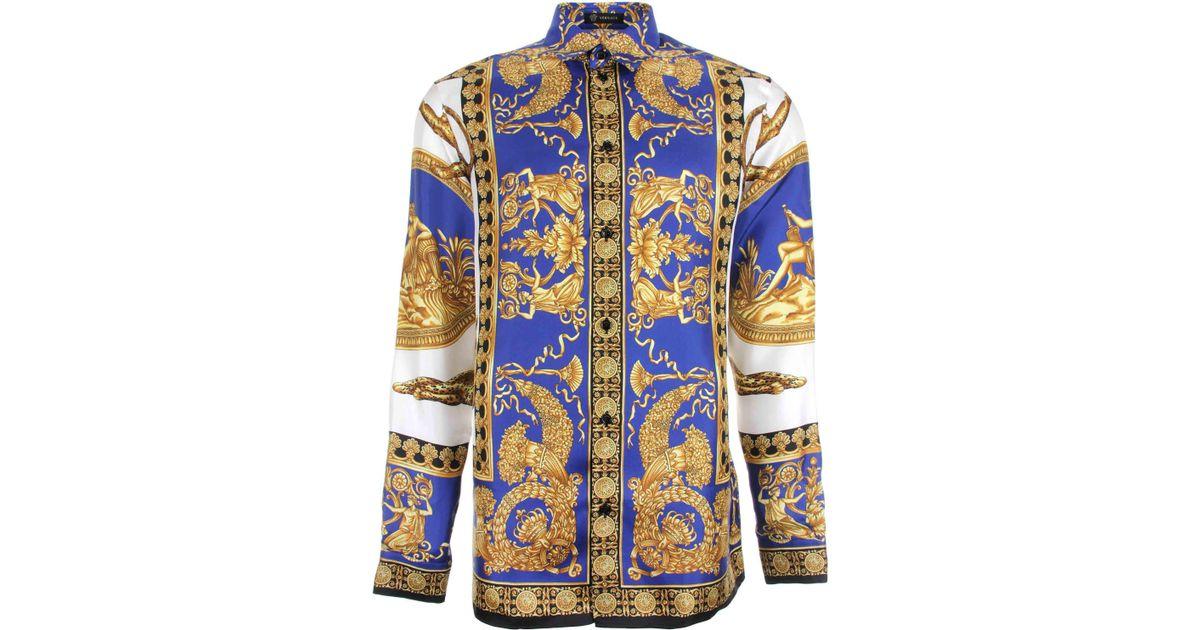 9d01311b Versace Pillow Talk Silk Shirt White/gold/blue in Blue - Lyst