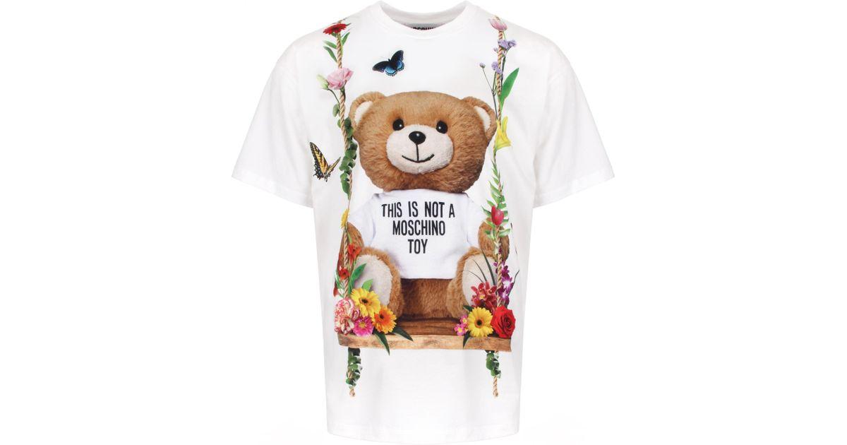 e41b4031 Moschino Floral Bear Oversized T-shirt White in White for Men - Lyst