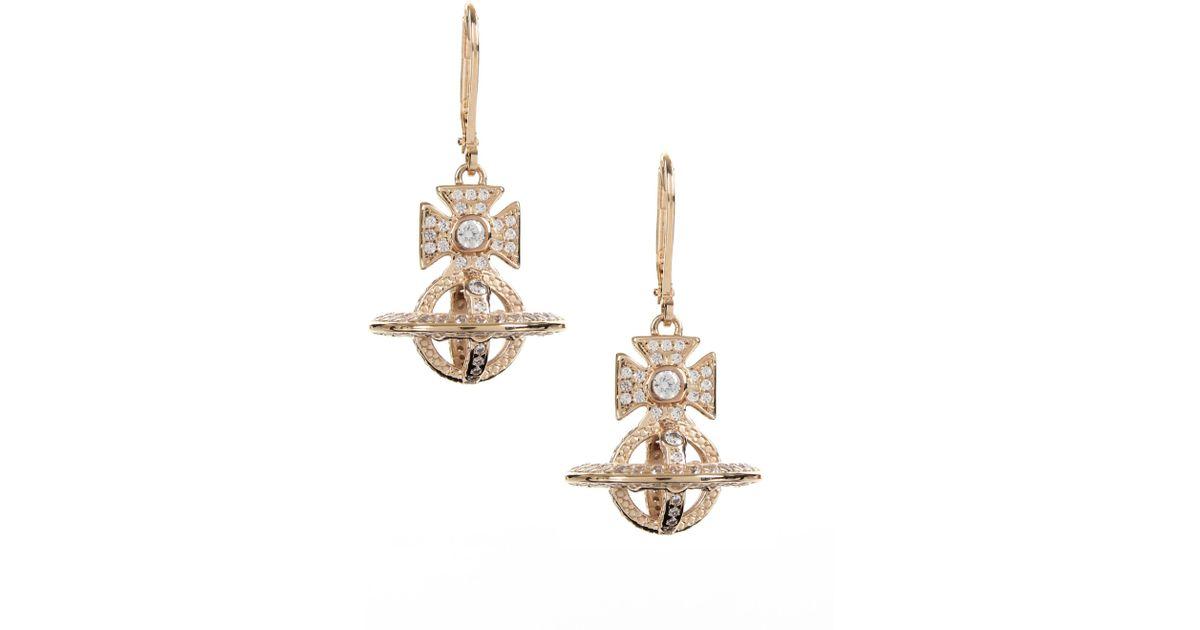 66b485679 Vivienne Westwood Isabella Orb Earrings Yellow Gold/white in Metallic - Lyst