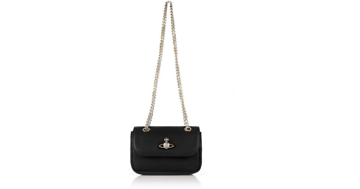 edddfdd44c8 Vivienne Westwood Emma Small Bag With Chain 52020005 Black in Black - Lyst