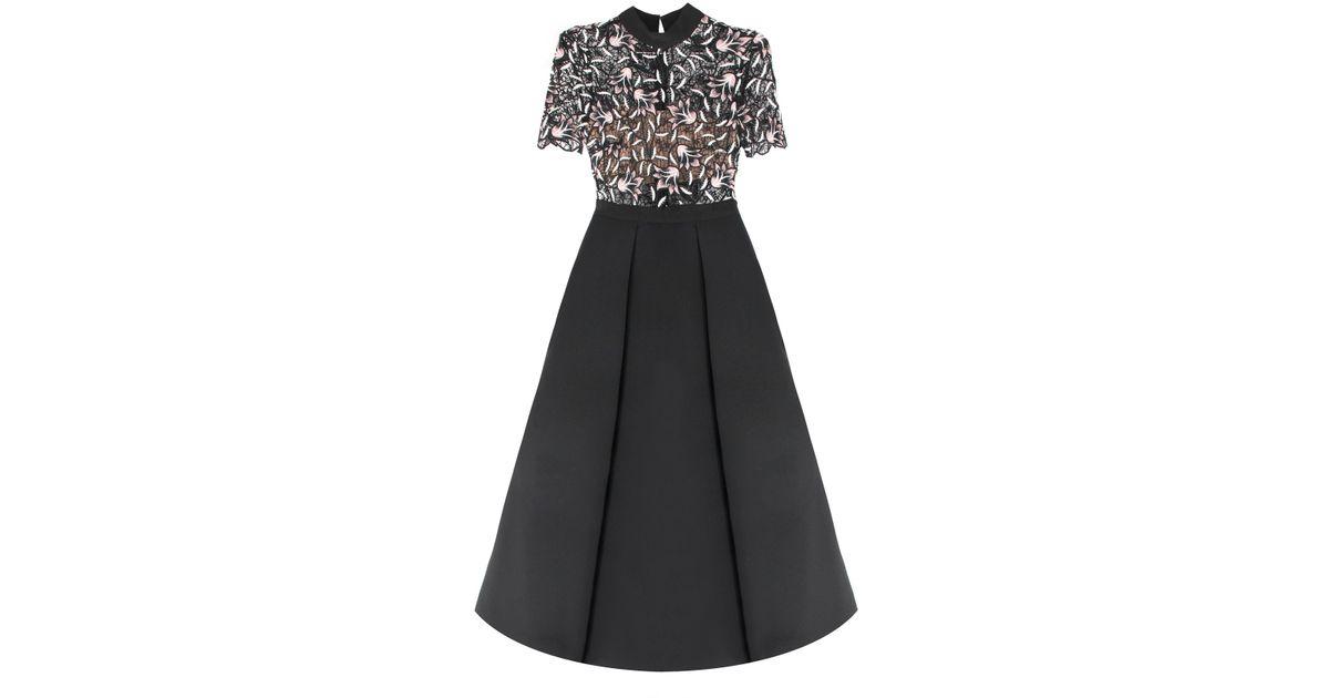 e4d20cbde21f Self-Portrait Nightshade Midi Dress Black in Black - Lyst