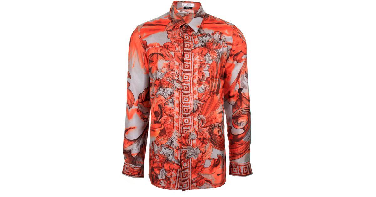 838e0c9e Versace Tie And Dye Baroque Hand Painted Silk Shirt Orange in Orange for Men  - Lyst