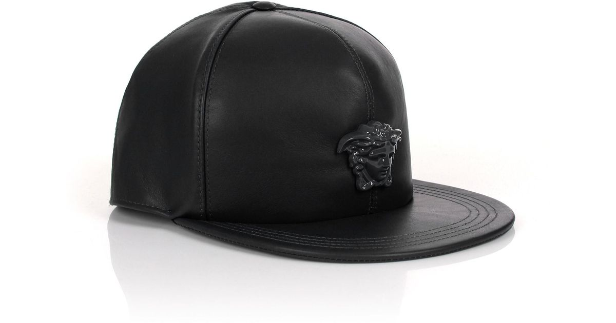 c2c16eb3 Versace Medusa Logo Leather Show Cap Black/black in Black for Men - Lyst