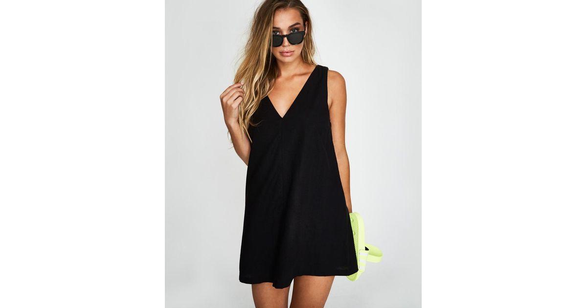 b490e67f98 Alice In The Eve Mila Linen Tunic Dress Black in Black - Lyst