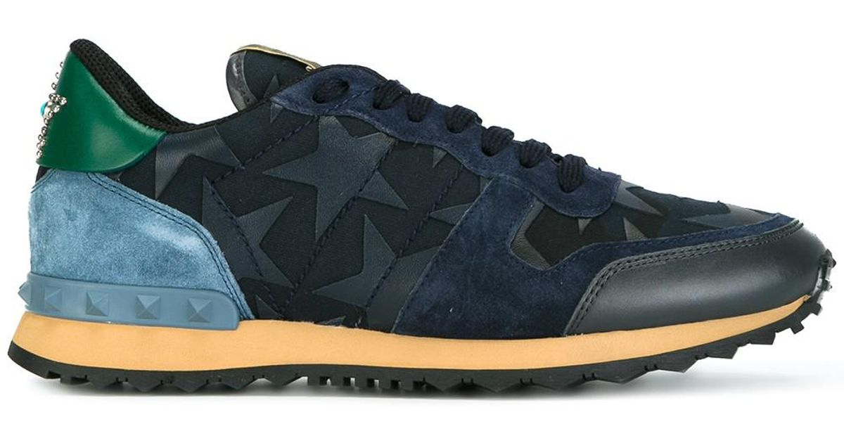 ba3c7e439a7dc Valentino Rockrunner Starstudded Leather, Suede And Canvas Sneakers in Blue  - Lyst