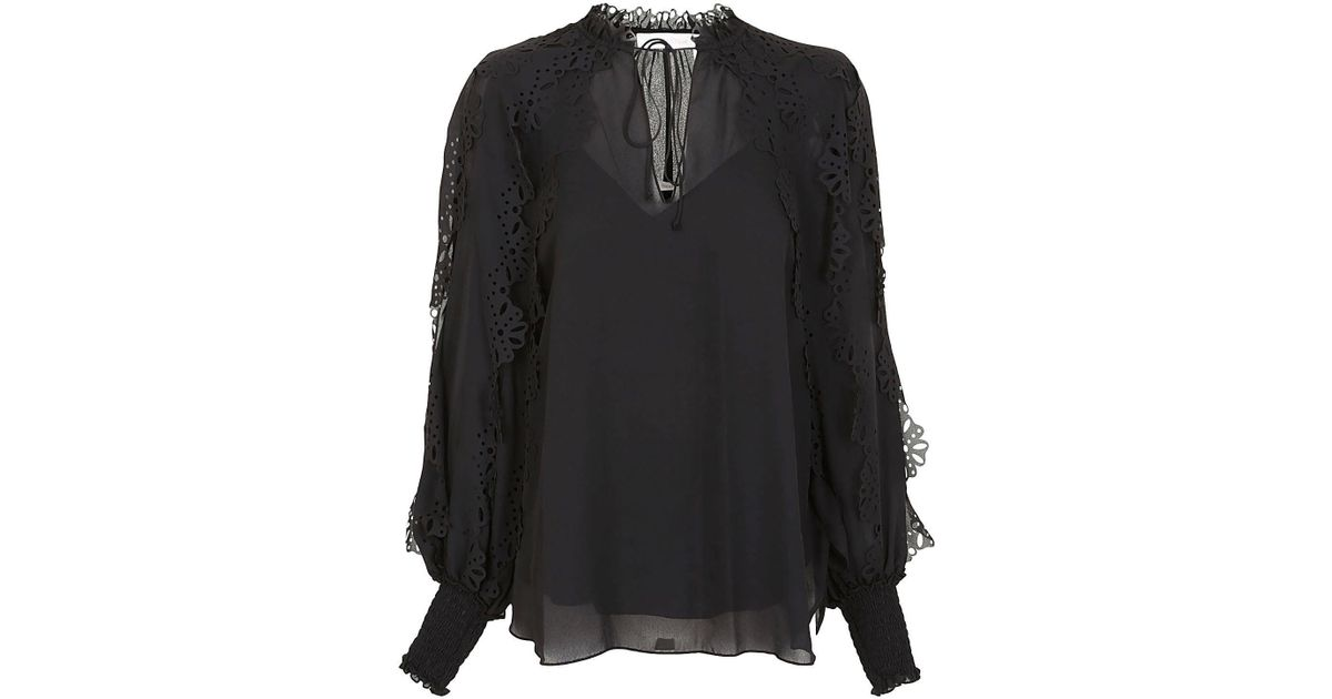 6c9ed63579 See By Chloé SEE BY CHLOE' Camicia trasparente nera in Black - Lyst