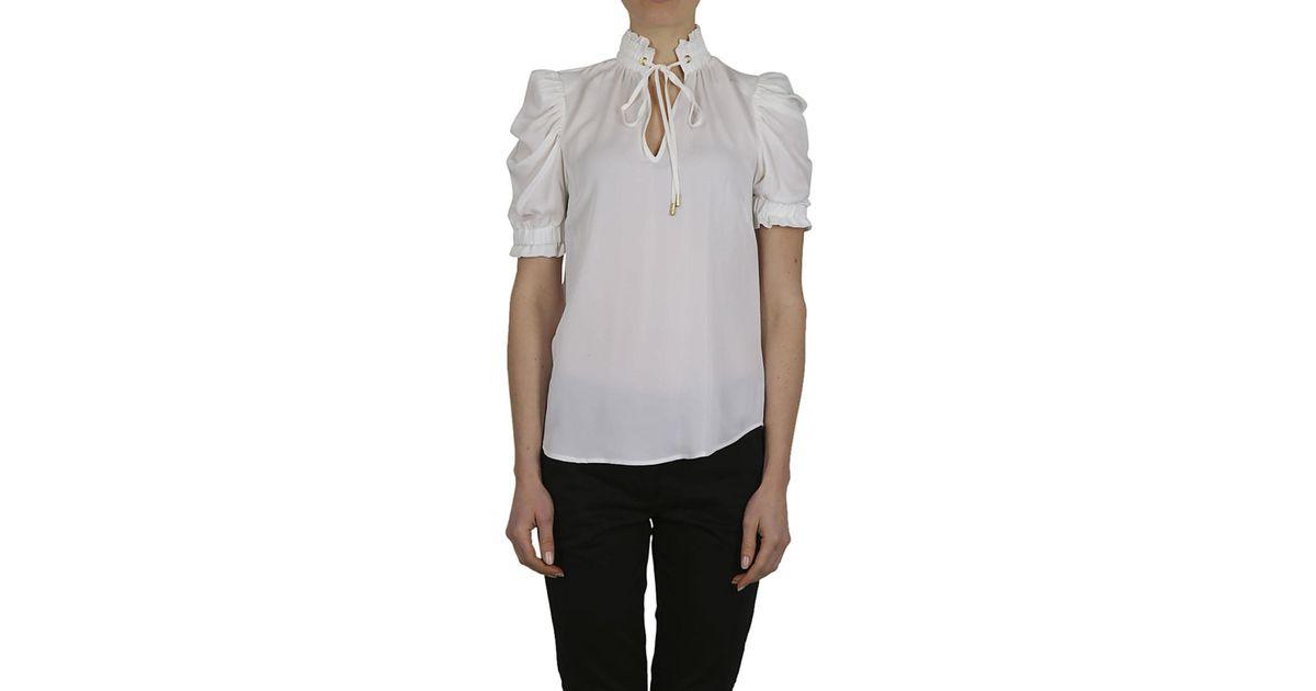 ac205991b246a9 Lyst - Michael Kors MICHAEL KORS Camicia seta bianca in White