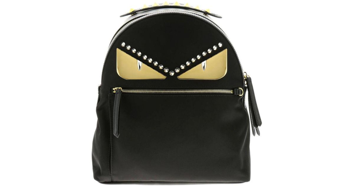 46b35b9e5e56 Lyst - Fendi Monster Eyes Nylon And Leather Backpack With Bag Bugs Eyes  Metal Patch in Black - Save 34%