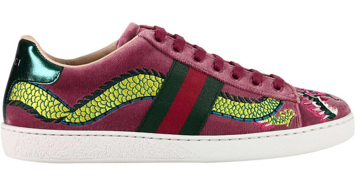 b8ae6afdf23 Lyst - Gucci Velvet New Ace Sneaker With Side Web Bands And Dragon  Embroidery in Pink