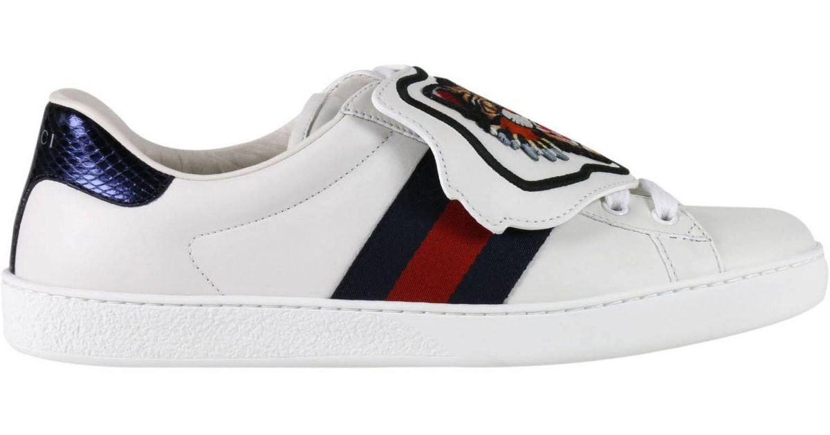3bf4f8e6d19 Lyst - Gucci Ace Sneakers With Embroidered Angry Cat Removable Patches And  Web Bands in White for Men