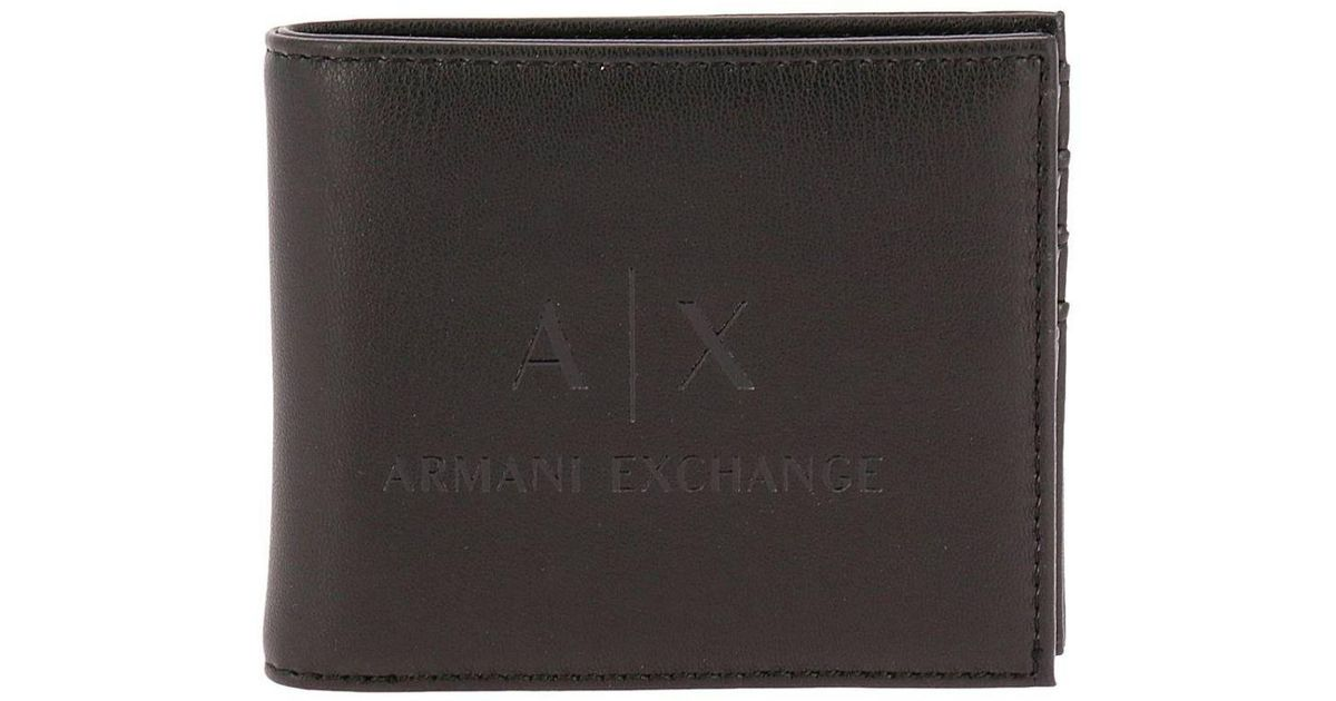 2f8f380e9f17 Armani Exchange Leather Bifold Wallet Black for men