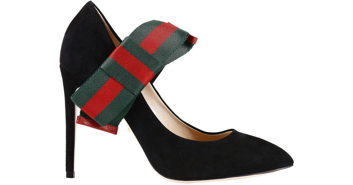 8542b4b3e6e Gucci Suede Pumps With Removable Web Bow in Black - Save 21% - Lyst