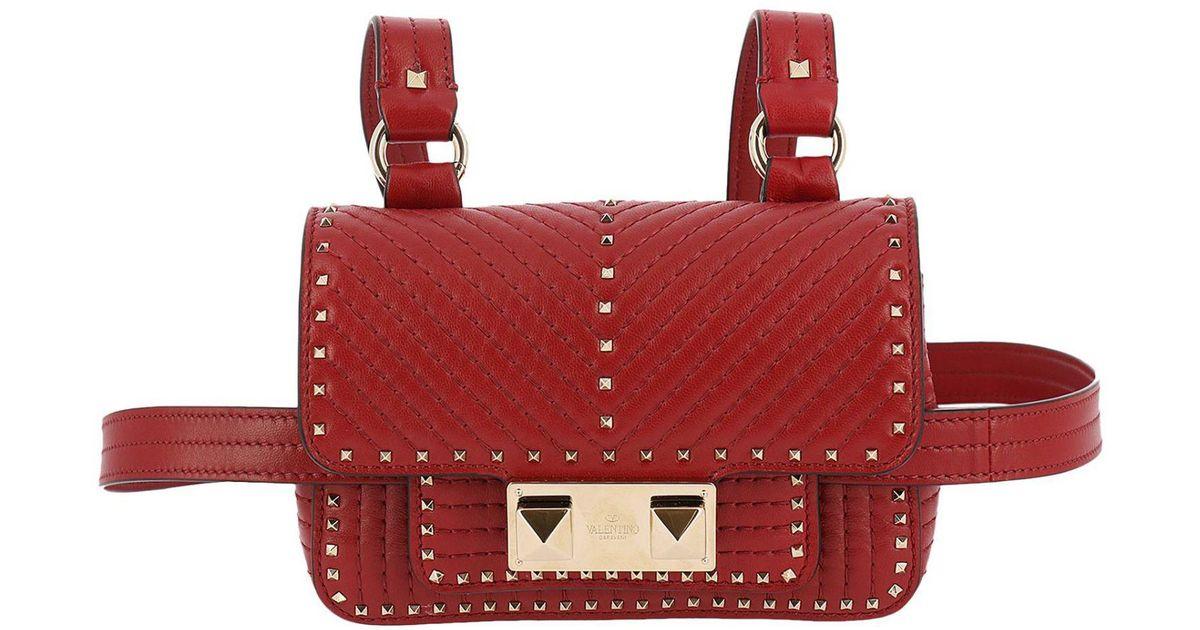 acolchado Mini metal en Ziggy de rojo cuero correa y tachas con de Spike para Valentino bolso Lyst el hombro x77r8IY
