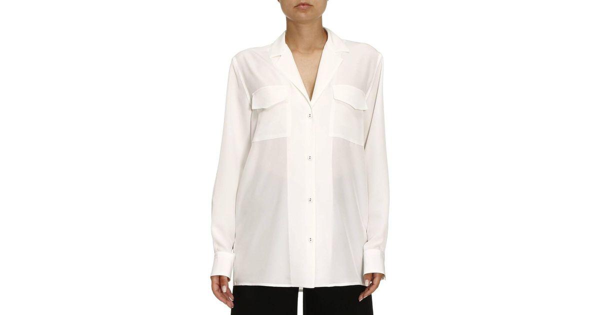 39ecade1807f3d Bottega Veneta Notch-lapel Silk-crepe De Chine Blouse in White - Lyst