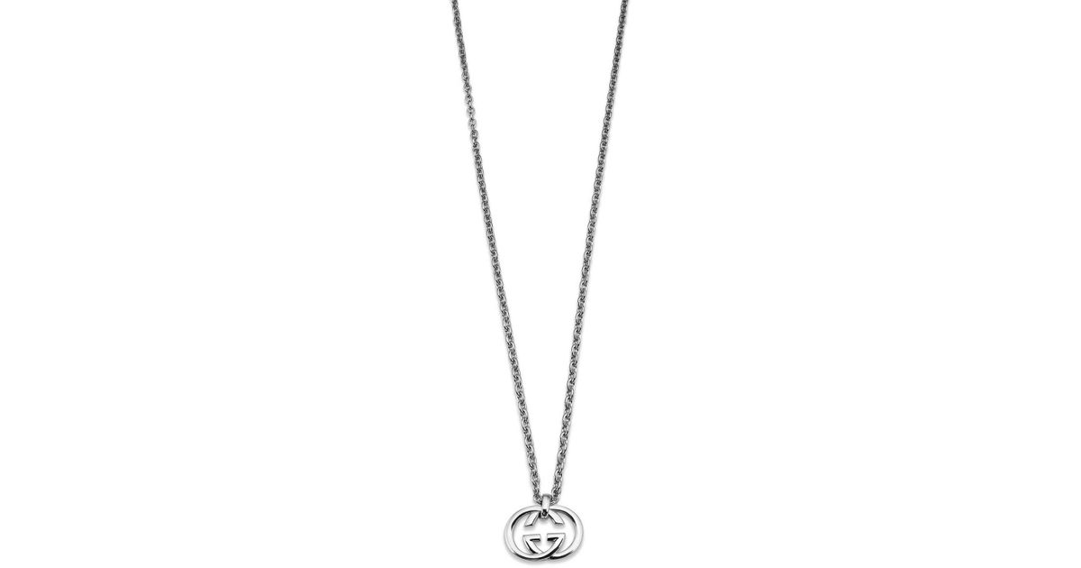 f5c97c0b449 Lyst - Gucci Britt Necklace With 50cm Gg Sterling Silver Charm in Metallic