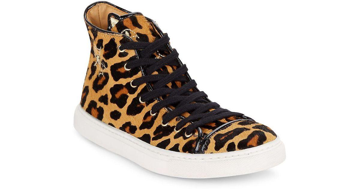 99afc49409da Lyst - Charlotte Olympia Purrrfect Leopard-print Calf Hair High-top  Sneakers in Brown