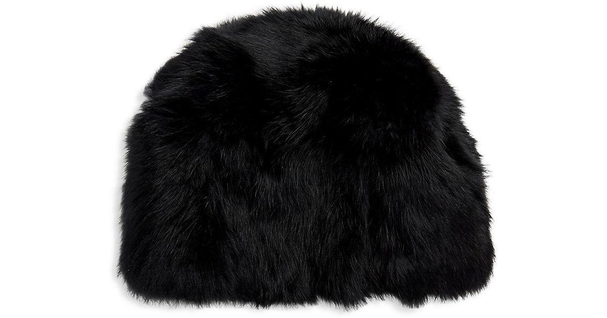 79a06ed3e6654 Lyst - Adrienne Landau Textured Rabbit Fur Beanie in Black