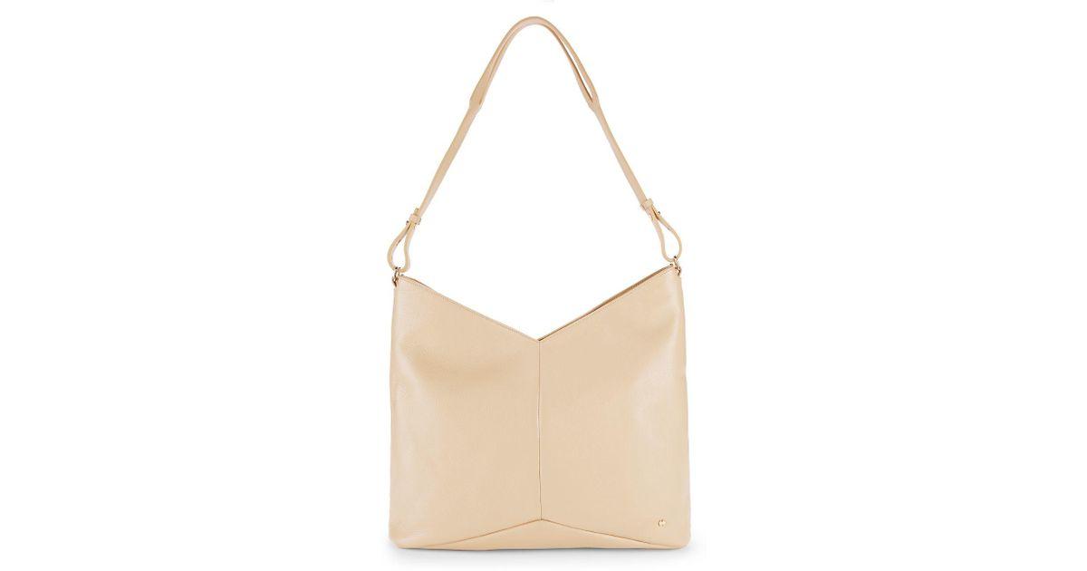 81fe1049fa Lyst - Halston Chevron Leather Tote Bag in Natural